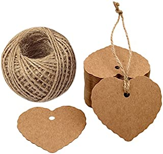 100PCS Kraft Paper Gift Tags Heart Paper Tags with Jute Twine 30 Meters Long for DIY Crafts & Price Tags,Valentine,Wedding and Party Favor