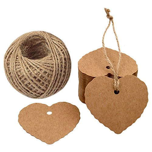 Fathers Day Tags,100PCS Kraft Paper Gift Tags Heart Paper Tags with Jute Twine 30 Meters Long for DIY Crafts & Price Tags,Valentine,Wedding and Party Favor