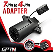 OPT7 Weatherproof 7 Way Flat Blade to 4 Way Pin Adapter w/Secure Tab - for Trailer Tow Hitch and Redline Tailgate LED