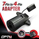 OPT7 Weatherproof 7 Way Flat Blade to 4 Way Pin Adapter w/Secure Tab - for Trailer Tow Hit...