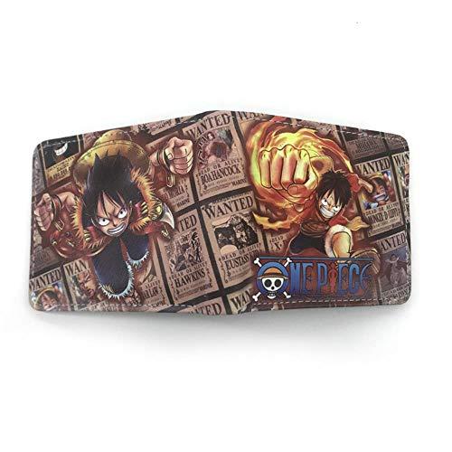 Portefeuille Portemonnaie Anime One Piece Chapeau de Paille Luffy Portefeuille Feu Poing Ace Court Clip Coin Sac en Cuir Étudiant 23X11cm Luffy