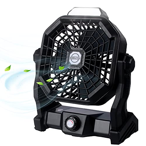 Outdoor Camping Fan with LED Lantern, Rechargeable Portable Fan, Battery Operated Powered Personal Fan, Small USB Desk Fan for Travel, Bedroom, Home, Office
