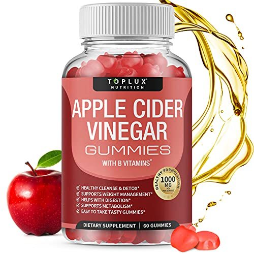 Apple Cider Vinegar Gummies - 1000mg Organic ACV with The Mother for Immune System, Detox & Cleanse, Gummy Alternative to Apple Cider Vinegar Capsules, for Men Women, 60 Gummies, toplux Supplement
