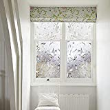 LMKJ Flor floreciente patrón de Vid película de Vidrio Accesorio estático refracción Reutilizable película de Ventana láser 3D Duradera A121 40x200cm