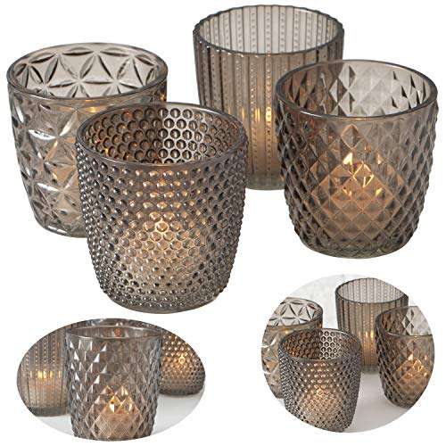 LS-LebenStil 4x Glas Teelichthalter Retro Grau Braun 7cm Windlicht-Halter Kerzenständer