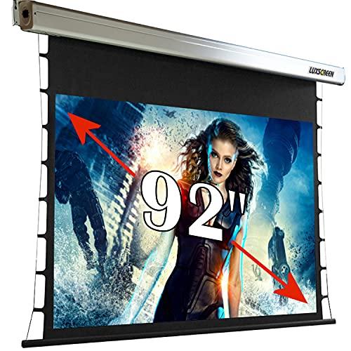 Pantalla de proyeccion tensionada 92' 16:9 ( 203 x 114cm ), cajetin 252cm, Pantalla para proyector motorizada, con Control Remoto, Libre de Arrugas