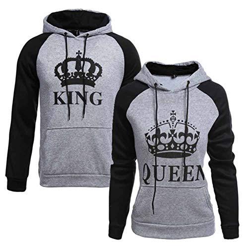 CHIYEEE King Queen Passende Paar Pullover Hoodie Set Pärchen Sweatshirt Damen Herren Kapuzenpullover
