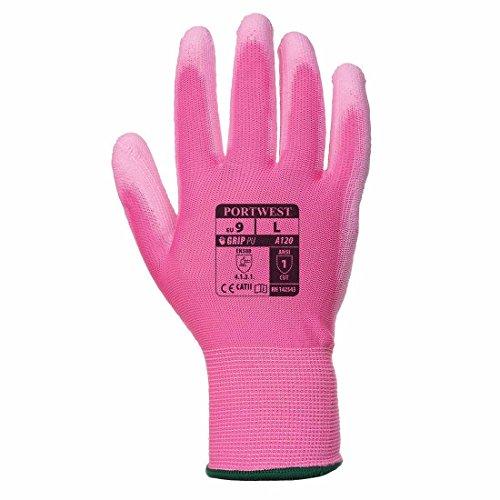 Gartenhandschuhe / Arbeitshandschuhe aus Nylon in bunten Farben mit PU-beschichter Handinnenfläche von Portwest - A120, rosa
