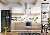 Muebles de Cocina Completa 260 cms Color Blanco y Beige, zocalos incluidos, ref-02a NO Incluye: Fregadero ni Grifo.