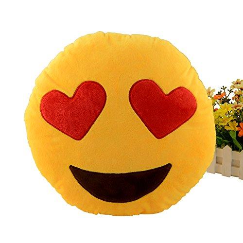 Miryo-Cojín con diseño de emoji Emoticonos Emoticones ojos de corazones suave y cómodo decoración Sofá juguete de peluche Mono Divertido 32 x 32 x 12