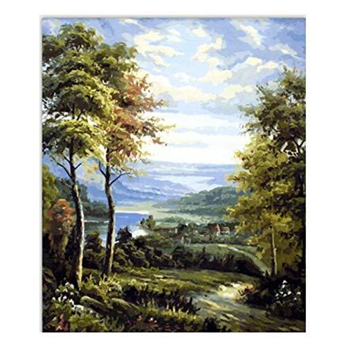 CHEJHUA Lino Corpóreo Lienzo al óleo de Digitaces DIY Pintura del Rastro del Bosque 16 * 20 Pulgadas (40 x 50 cm) con Aparato Digital de la Pintura del Marco privilegiado. Mural