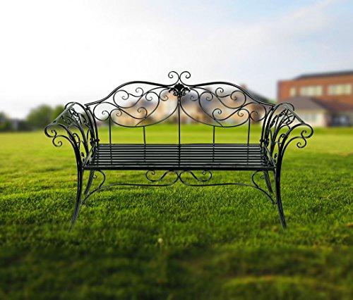 HLC 133*49*90 CM Metall Bank Gartenbank Ruhebank doppelte Sitz mit Rücken aus Eisen Schwarz - 2