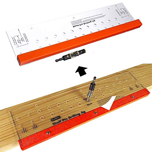 YH-KE Woodworking kit With 1/4 Inch Self Centering Bit 11 Holes 19 Inch Long Tools Woodworking Drillring Guide Shelf Pin Drilling Jig durable Power Drill Chucks