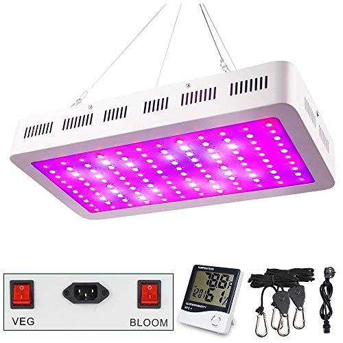 1200W LED Pflanzenlampe, WAKYME Einstellbar Volles Spektrum Zwei Schalter Pflanzenleuchte mit Thermometer Feuchtigkeitsmesser & Leistungsstarkem Kühlsystem für Gemüse und Blumen im Innenbereich