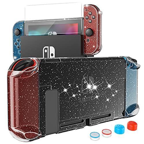 HEYSTOP Carcasa Nintendo Switch, Funda Nintendo Switch con Protector de Pantalla para Nintendo Switch Console y Joy Cons con 4 Agarres para el Pulgar, Nueva Actualización 2021 Black Glitter Ed