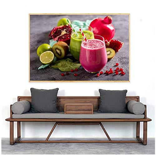 RuiChuangKeJi Food Poster Nordic Style Slaapkamer Decor Fruit Sap Thee Citroen Wortel Keuken Muur Kunst Woonkamer Decoratie Decoracion60x80cm Geen Frame
