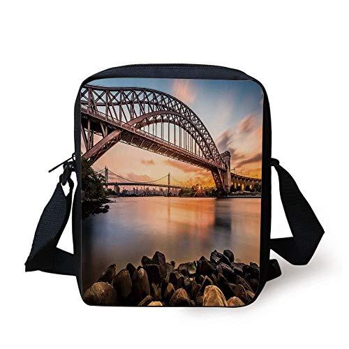 FFLISHD Landscape,Sunset Evening View Picture Hell Gate and Triboro Bridge Astoria Queens America,Brown Blue Print Kids Crossbody Messenger Bag Purse