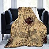 TIFMOCO Extra Soft I Like Exercise Marauders Map Ha-rry Pot-TER Throw Blankets, Sherpa Flannel Travel Blanket Throw Wearable Blankets, Large Blanket for Bed Couch Sofa Chair Dorm 60' x50