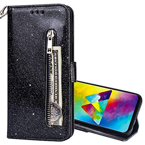 Nadoli Glitzer Handyhülle für Galaxy Note 8,Reißverschluss Kartentaschen Entwurf Hell Glänzen Magnetverschluss Flip Bling Schutzhülle Etui im Brieftasche-Stil für Samsung Galaxy Note 8