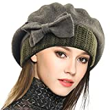 Mujer Boina 100% Lana Vestido Beanie Invierno Sombrero (Verde)