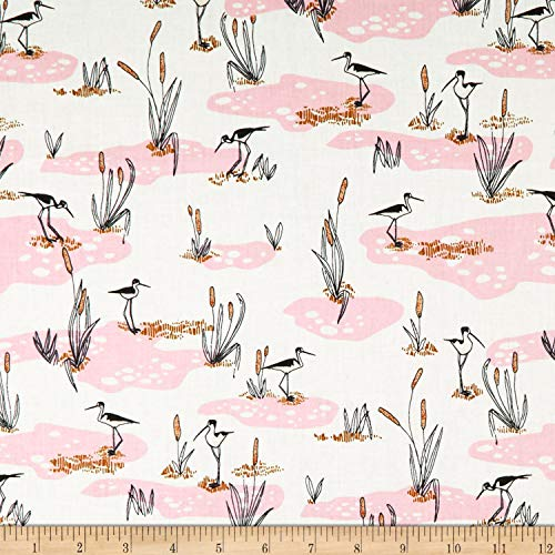 Cloud 9 Organic Terrestrial Wetlands Fabric, Pink, Fabric By The Yard
