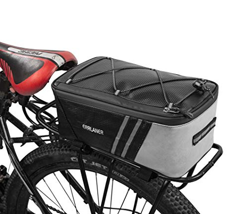ERRLANER Bicycle Rack Rear Carrier Bag PU Leather Waterproof 11L Large Capacity Storage Luggage Pouch Reflective MTB Bike Pannier Shoulder Bag with Rain Cover