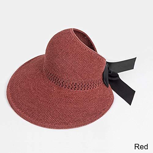 LMXING Sommerhut mit Mode Bogen Sonnenhüte Frauen Pferdeschwanz Sun Cap Band Gestrickte Bast Hut Für Frauen Weibliche Strand Hut Wein