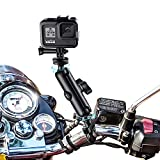 UIRWOU Multi-Function 360°Rotation Motorcycle Handlebar Mount for GoPro Hero9/8/6/5/4/3+Action Camera,with 1/4 Screw Double Ball Head Metal clamp arm,and for Insta ONE X2 Panoramic Video.