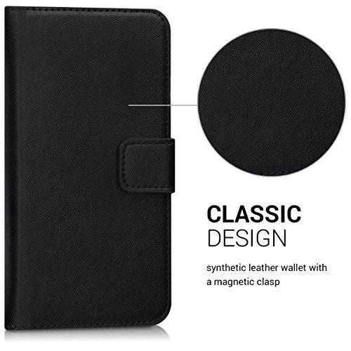 kwmobile Hülle kompatibel mit Huawei Y6 (2017) - Kunstleder Wallet Case mit Kartenfächern Stand in Schwarz