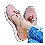 Aniywn Women's Round Toe Flat Heels Buckle Cut-Out Sandal Ladies t-Strap Casual Slip On Platform Walking Shoes Pink