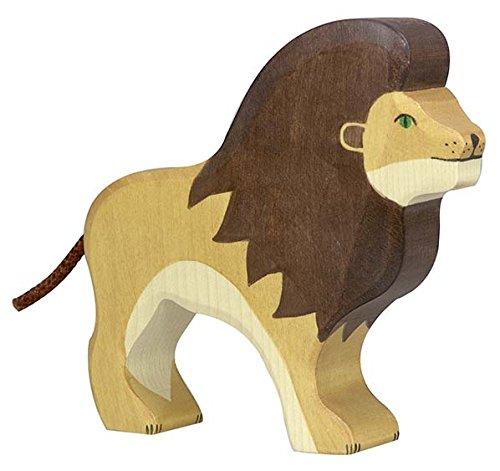 Holztiger Elefant, Giraffe, Löwe im Tiere Set