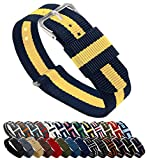 18mm Navy/Lemon Standard Length- BARTON Watch Bands - Ballistic Nylon NATO Style...
