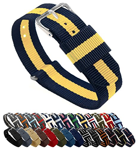 20mm Navy/Lemon Standard Length- BARTON Watch Bands - Ballistic Nylon NATO Style Straps