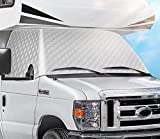 RV Windshield Cover Compatible with Ford Class C 1997-2020 RV Front Window Cover RV Motorhome Windshield Cover Sunshade Cover Snow Cover with Mirror Cutouts