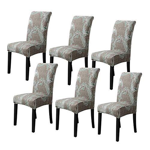 XBSXP Stretch Dining Chair Covers, High Back Chair Schutzbezug Schonbezug, Elastic Chair Protector Sitzbezüge für Esszimmer Hochzeit Bankett Party Dekoration, F, 6 Stück