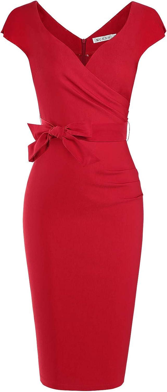 MUXXN Low price Women's Vintage 1950s Style Wrap Neck Tie V Waist Formal Cheap C