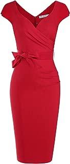 Women's Vintage 1950s Style Wrap V Neck Tie Waist Formal...