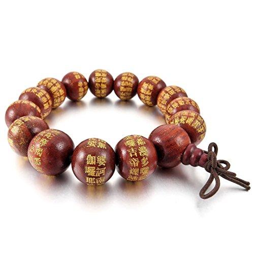 Kaxofang Pulsera de 14 mm de madera con cuentas rojas tibetanas budistas, oración budista budista, nudos chinos elásticos, para hombre y mujer