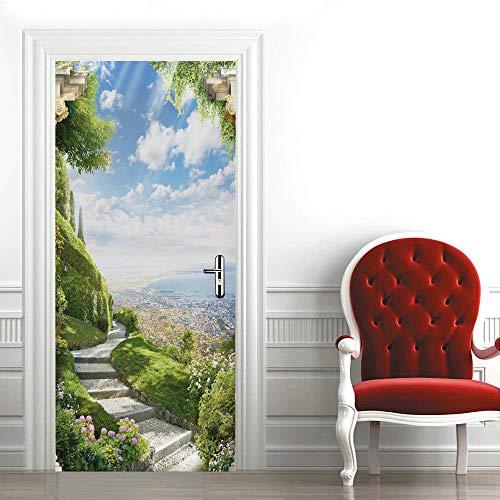 Pegatinas 3D para puerta de interior de puertas autoadhesivas, para dormitorio, casa, dormitorio, oficina, baño, decoración del hogar, 77 x 200 cm, hermoso paisaje