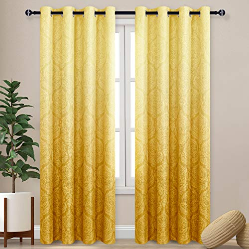 DWCN Ombre Blackout Curtains for Bedroom - Damask Patterned Thermal Insulated Energy Saving Grommet Curtains for Living Room, Set of 2 Gradient Window Curtain Panels, 52 x 84 Inches Long, Yellow