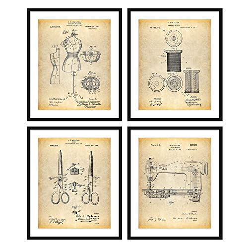 Bestbuddy Pet 8X10 Unframed Dress Form Thread Spool Sewing Shears Sewing Machine Patent Poster Print Set of 4 Invention Decor Fashion Designer N050