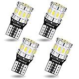 AGLINT T10 LED CANBUS Bombillas Libre de Errores W5W 194 168 2825 18SMD Para Coches de Interior Luces Laterales Iluminación Luces Laterales Exterior Posición Matrícula 6000K Blanco 4 Piezas