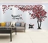 Árbol Pegatinas de Pared 3D Árbol Familia Marco de Fotos DIY Murales Stickers Decoración para Salón, Dormitorio, Oficina, Habitación Pegatinas Pared(2 Rojo Derecha,XL-400*200cm)