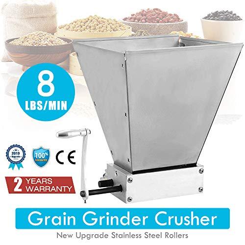 4YANG frantoio per cereali, 8Lbs/Min Macinacaffè con 2 rulli regolabili in acciaio inossidabile per la produzione di malto per orzo, frumento, malto, riso, uva e sesamo