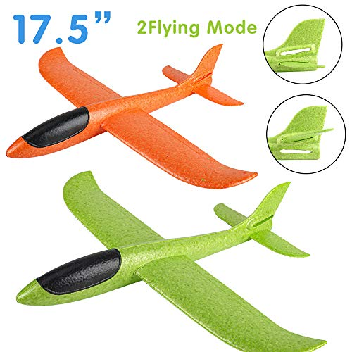 2 Pack Airplane Toys, Boy Toys, 2 Flight Mode Foam Glider Plane for Kids, Family Game Flying Toys, Birthday Christmas New Year Gift for 3 4 5 6 7 8 9 10 Year Old Boys Girls Kids Toddlers Party Favor