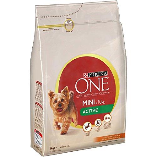 Purina ONE Mini Active Pienso para Perro Adulto Pollo y Arroz 4 x 3 Kg