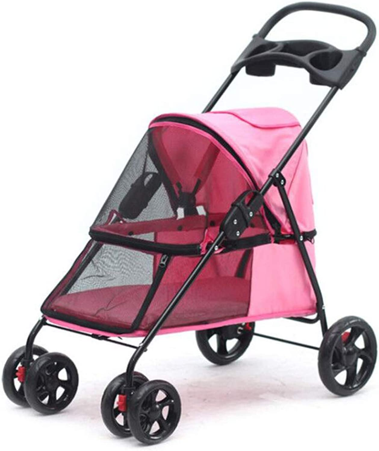 Jlxl Pet Stroller Can Fold Aluminum Alloy Stroller Sunscreen Rainproof Outdoor Travel Car Load 15kg For EVA Tire Damping (color   PINK)