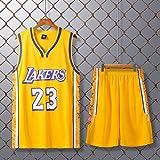 JX-PEP Hombres Jerseys del Baloncesto Set - Mangas Transpirable de Secado rápido Chaleco, Lakers 23 James Baloncesto Uniforme: Verano Top + Shorts Deportivos para Adultos,L