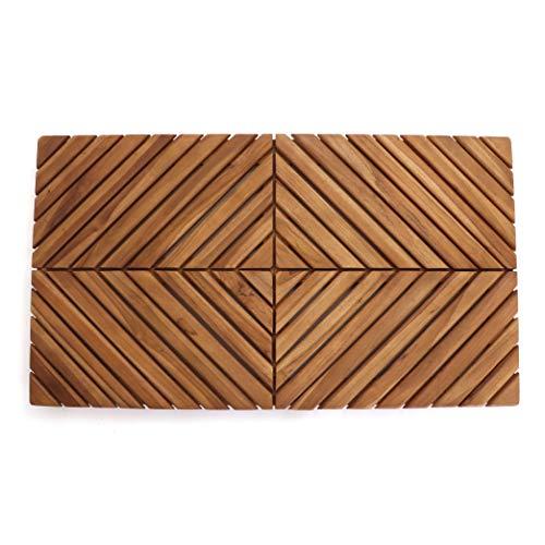 Belari Teak Shower Mat - Teak Bath Mat - Wood Bath Mat - Wood Shower Mat - Non Slip Indoor or Outdoor Shower Mat - Teak Doormat/Sauna Mat - Wooden Stall Mat (Zen)