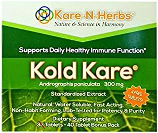 Supports Daily Healthy Immune Function - Kold Kare - ANDROGRAPHIS PANICULATA - 300mg - 40 Tablets